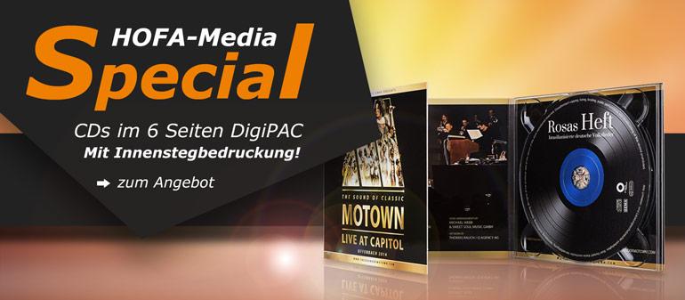HOFA-Media Special: CDs im 6 Seiten DigiPAC mit Innenstegbedruckung!