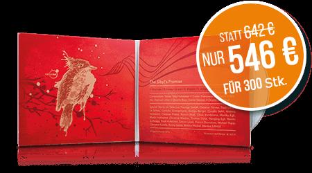 CDs im 4 Seiten DigiSleeve, 300 Stk. nur 546 €.